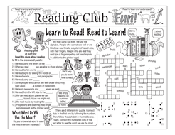 Learn to Read! Read to Learn! Two-Page Activity Set