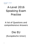 A2 German Speaking Test Questions and Answers - Die EU (Europäische Union)+ Brexit