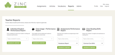 Zinc Reading Labs: online reading, vocabulary and assessment tools for personalized learning