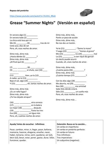 Song Quot Summer Nights Quot Grease Spanish Version Preterite