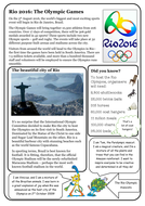 Reading comprehension package - Rio Olympics 2016