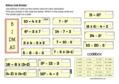 bidmas activities puzzles by mathspaduk teaching resources tes. Black Bedroom Furniture Sets. Home Design Ideas