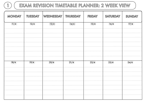 Weekly Revision Planner – Weekly Calendar | Daily Form | Printable ...