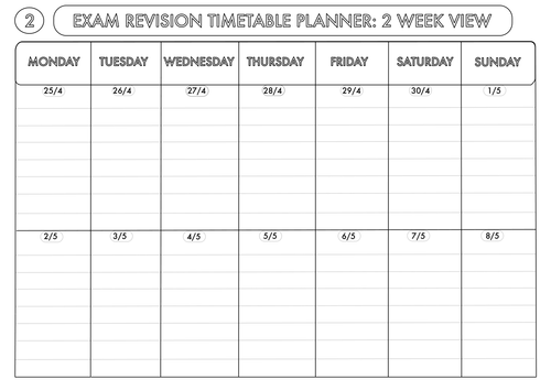 Exam Revision Timetable Planner 2016 by beckystoke - Teaching ...