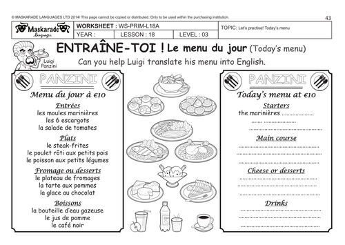 French Unit 5 Food Year 5 6 At The Restaurant Choosing From