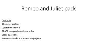 romeo and juliet english language activity character homework romeo and juliet activity homework and resource pack