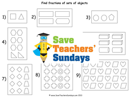 Fractions Of A Set Ks Worksheets Lesson Plans Powerpoint And  Fractionofasethalvesthirdsand