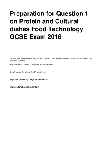 Cultural design ideas and sample answers Food Technology