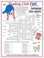 Spring Sports Compound Words Crossword Puzzle