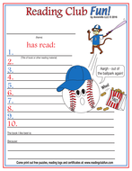Time for Baseball Reading Log and Certificate Set