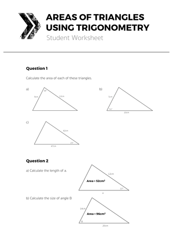 Areas Of Triangles Using Trigonometry Complete Lesson By