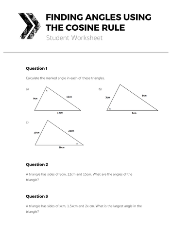 finding angles using the cosine rule complete lesson by tomotoole teaching resources tes. Black Bedroom Furniture Sets. Home Design Ideas
