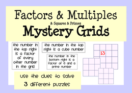 factors multiples  primes activity  worksheet pack by mathspaduk  factorsandmultiplesmysterygridspdf