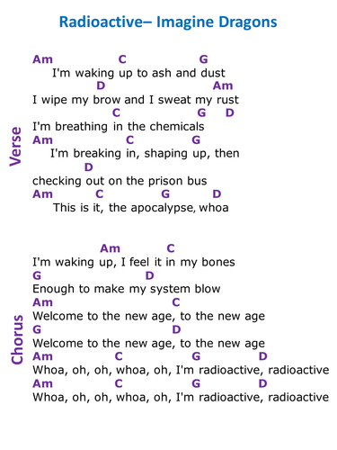 Radioactive - Imagine Dragons (KS3 performance guide ...