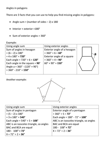 angles in polygons revision by frazzled22 teaching resources tes. Black Bedroom Furniture Sets. Home Design Ideas