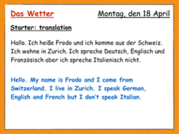 Das Wetter The Weather By Benwhittingham Teaching Resources