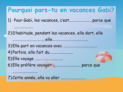 9c0bc71d46a9ca Les vacances de Gabi  listening with Youtube video  French GCSE ...