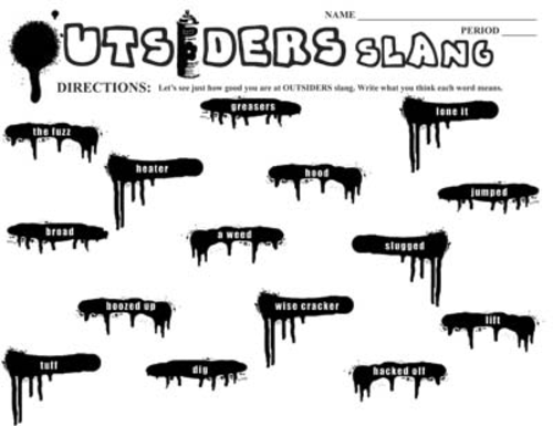 outsiders 34 slang phrases spraypaint graffiti by s e hinton by us teacher lessons tes. Black Bedroom Furniture Sets. Home Design Ideas