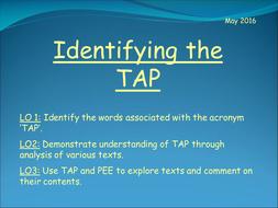 GCSE English Language - Identifying the TAP