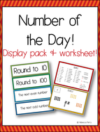 Number of the Day! Resource Pack, Prompt Cards & Worksheet! Classroom Routines!