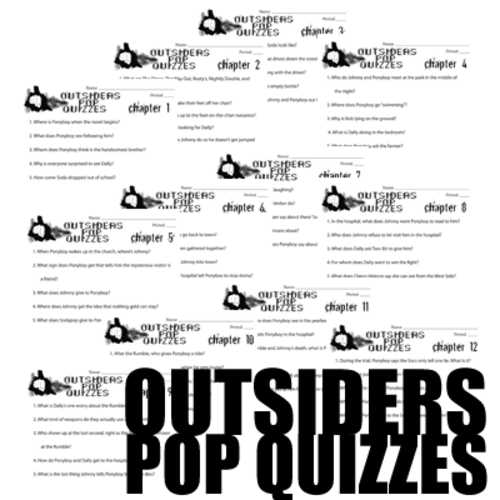 OUTSIDERS 12 Pop Quizzes (5 comprehension questions per