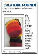 Lost Creature Posters (differentiated) - KS1 literacy descriptive sentences/ adjectives task