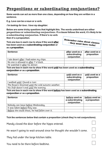 KS2 Prepositions or subordinating conjunctions? by mrpritchard13 ...