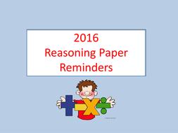 KS2/Key Stage 2 Reasoning Paper Reminders -Revision
