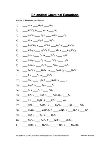 Simple Balancing Equations Worksheet Middle School - Worksheets