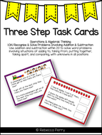 1.OA.1 Three Step Math Task Cards - Maths Activity - CCSS