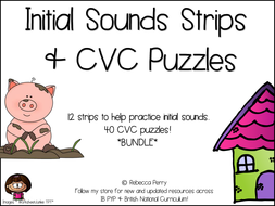 Initial Sound Strips & CVC Puzzles - BUNDLE - Phonics & Literacy Activities!