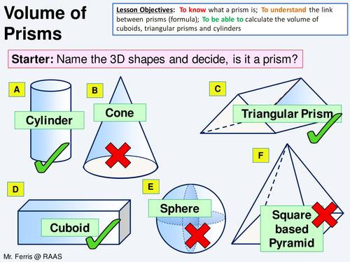 Geometry Volume 1 Volume Of Prisms Lesson Worksheet
