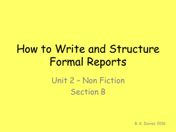 Formal Report Writing PowerPoint English Language