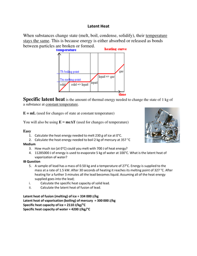 Latent heat presentation and question sheet by simoninpng ...