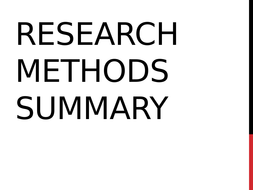 AQA Psychology - Research Methods Revision / summary