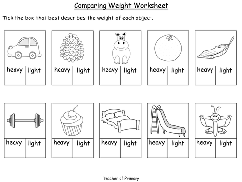 comparing weight year 1 powerpoint presentation and worksheets by teacher of primary. Black Bedroom Furniture Sets. Home Design Ideas