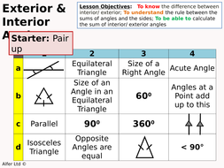 Geometry Angle Rules 4 Interior And Exterior Angles Introduction And Sums Resources By