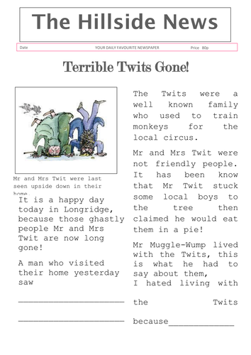 roald dahl book review template - the twits newspaper article by lbaggley teaching