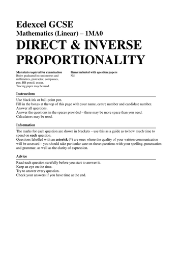 Direct And Inverse Proportion Worksheet Pdf Direct And Inverse