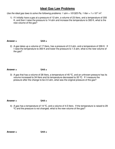 Worksheets Gas Laws Worksheet Answers ideal gas law by simoninpng teaching resources tes 3 2 problems doc