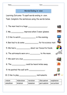 sion words free worksheet on words ending in 39 sion 39 suffix by krazikas teaching resources. Black Bedroom Furniture Sets. Home Design Ideas