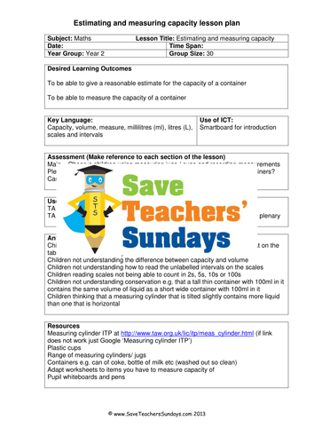 Measuring Capacity KS1 Worksheets and Lesson Plans (2 Lessons) by ...