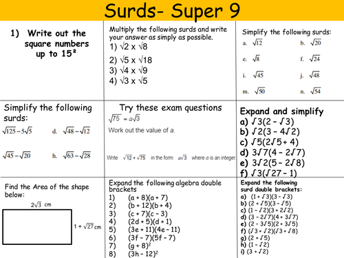 Surds Complete Revision Differentiated Great Gcse Revision By