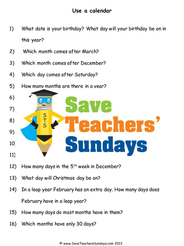 Calendar Worksheet Ks : Sequencing days months and using a calender ks