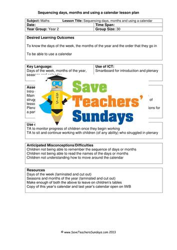 Kindergarten Calendar Powerpoint : Sequencing days months and using a calender ks