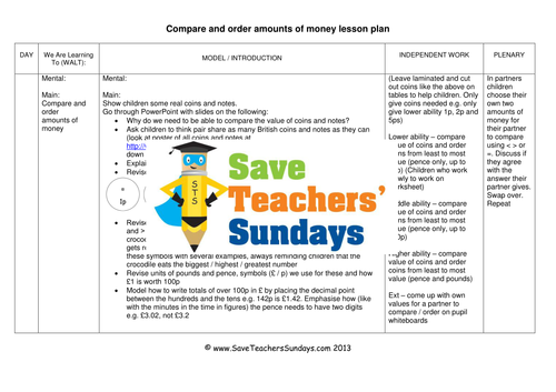 comparing and ordering amounts of money ks1 worksheets lesson plans powerpoint by uk. Black Bedroom Furniture Sets. Home Design Ideas