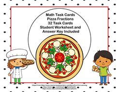 math task cards pizza fractionsages  by   math task cards pizza fractionsages
