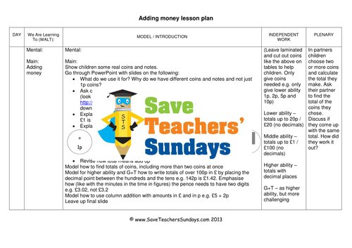 adding money coins and notes ks1 worksheets lesson plans