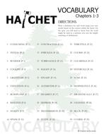 HATCHET Vocabulary List and Quiz (30 words, chs 1-3