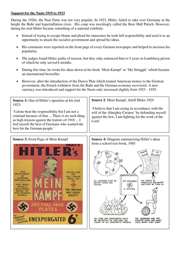 Why did support for the Nazi Party increase 1923 - 1932?
